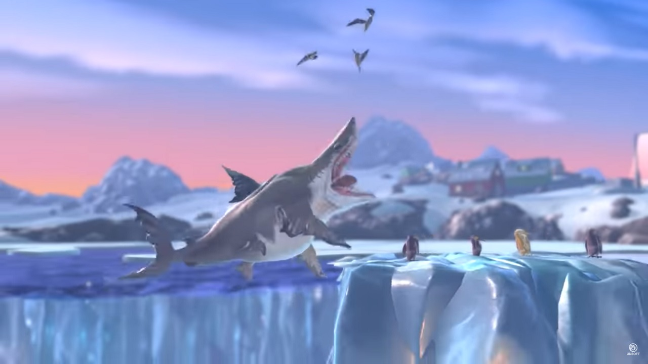 Hungry Shark World eating on ice