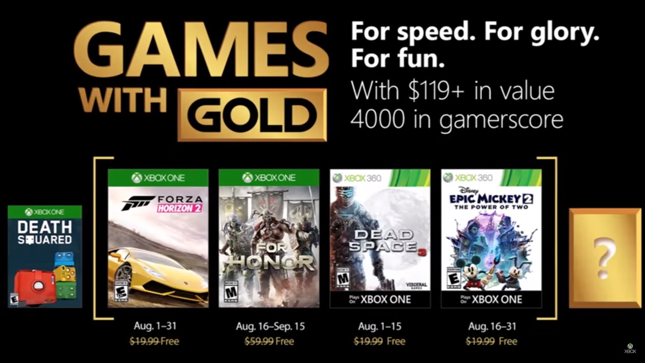 August 2018 Games with Gold List Looks Impressive