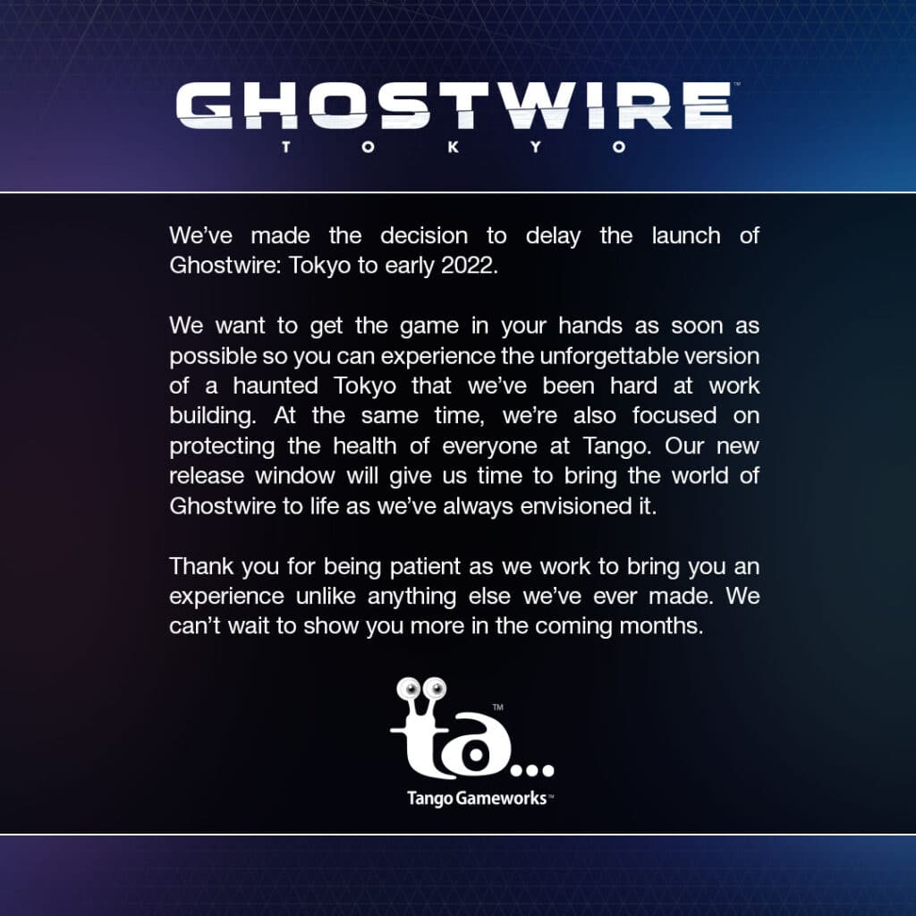 Ghostwire Tokyo confirmed to be delayed until early 2022