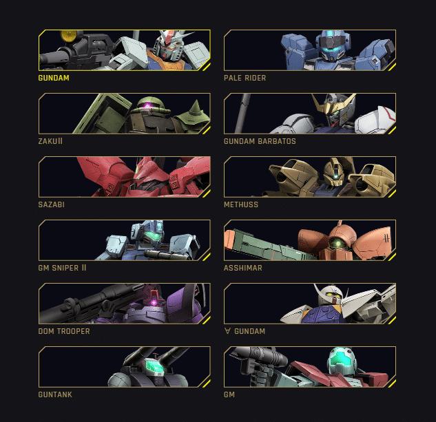 gundam evolution playable units list